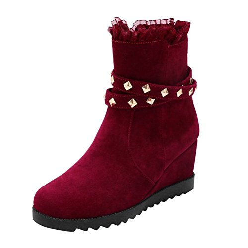 Height Mid Lace Wedges High Round Red Womens Nubuck Increased Shoes Ankle Boots with Agodor Heels Toe Oqp0v