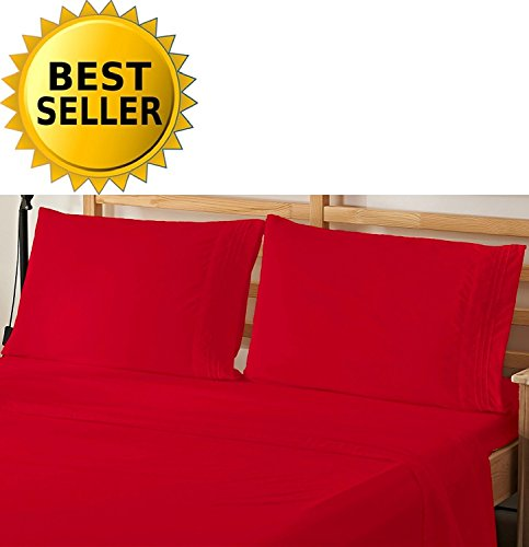 Elegant Comfort 4-Piece Bed Sheet Bedding Set! Luxury Softness 1500 Thread Count Egyptian Quality Wrinkle Free with Deep Pockets, Queen, Red