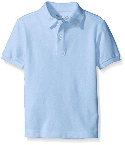 Nautica Husky Boys' Uniform Short Sleeve Pique Polo, Light Blue, XX-Large/Husky