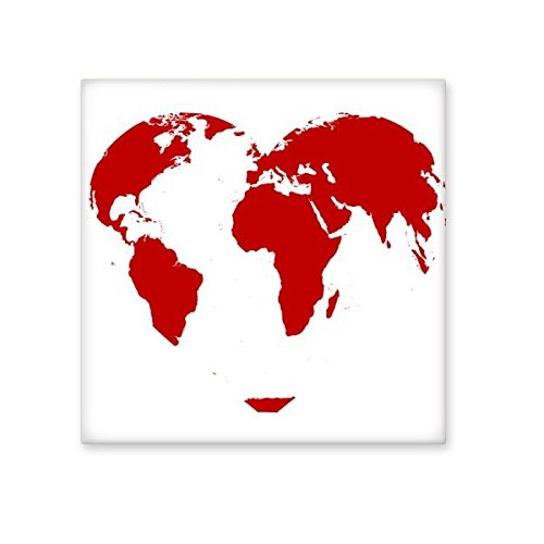outlet Valentine's Day Heart Shaped Red World Map Illustration Pattern Ceramic Bisque Tiles for Decorating Bathroom Decor Kitchen Ceramic Tiles Wall Tiles