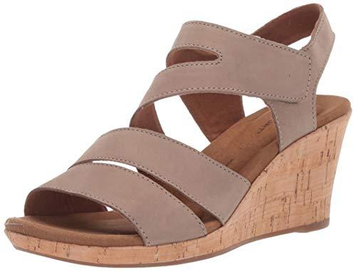 Rockport Women's Briah Asym Wedge Sandal, Taupe Nubuck, 7 W US ()