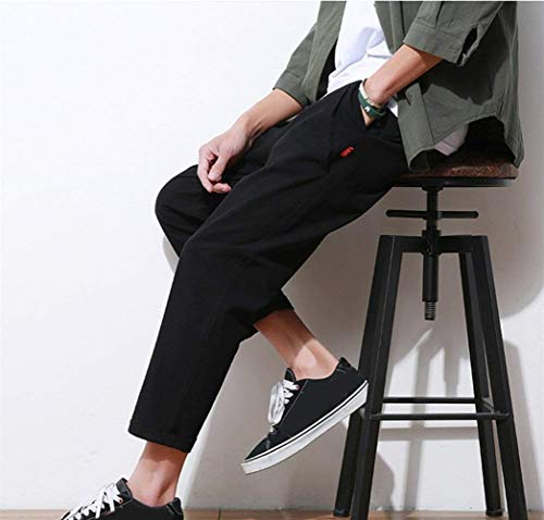 Clothing Loose Summer Men's Saoye Cotton Breathable Trousers Black Linen Leisure Fashion Harlan Long Cargo Sweatpants Pure Pants Sports 7v7gqEnr