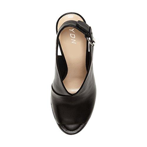 Ydn Donne Peep Toe Sandali Con Tacco Alto Cinturino Alla Caviglia Pompe A Spillo Scarpe Con Tacco A Spillo Nero Con Fibbia
