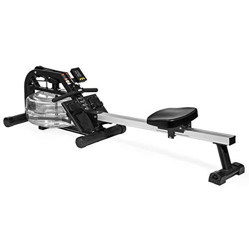 XtremepowerUS Water Rower Machine Water Rowing Exercise Workout Rower Adjustable Resistance w/LCD Fitness Monitor