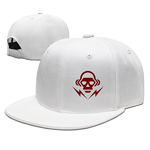Mens Dj Skull Music Logo Flat Brim Adjustable Snapback Hip Hop Cap White