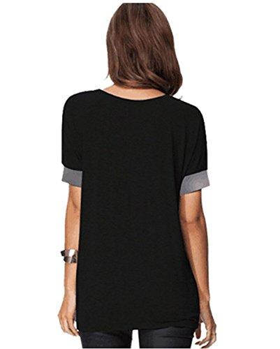 Casual Tops Camicie Corta Camicetta Collo Nero Donna T Fashion Manica Felpe Rotondo Fox Estivo Larghi Maglietta Bluse Fr ulein shirt Sciolto BPwq10Yw4