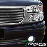 yukon denali fog lights xenon - Topline Autopart Chrome Housing DRL Led Head Lights Headlights Headlamps Amber Aw With Parking Bumper Signal Lamps Jy 01-06 GMC Yukon Denali/Sierra Denali