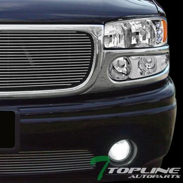 Topline Autopart Chrome Housing DRL Led Head Lights Headlights Headlamps Amber Aw With Parking Bumper Signal Lamps Jy 01-06 GMC Yukon Denali/Sierra (Gmc Yukon Denali Euro Projector)