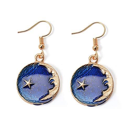 Dwcly Gold Tone Blue Yellow Enamel Round Pendant Vintage Cresent Moon Face Necklace (Moon Sun ()