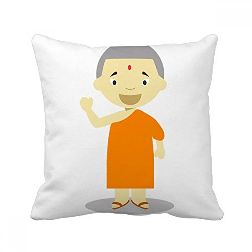 Orange Gown Monk Nepal Cartoon Square Throw Pillow Insert Cushion Cover Home Sofa Decor Gift