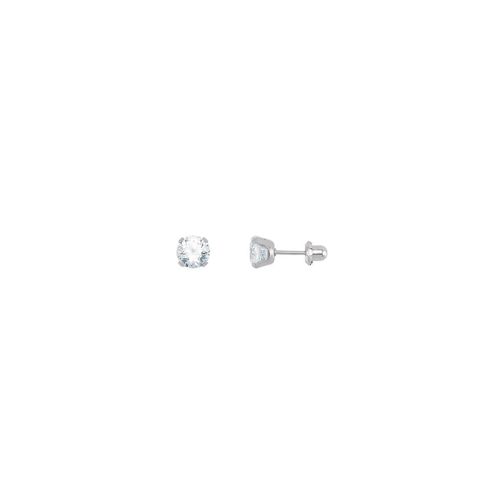 FB Jewels Stainless Steel 07.00 mm Polished Inverness Cz Piercing Earrings