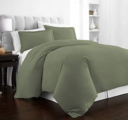 (Beckham Hotel Collection Luxury Soft Brushed 2100 Series Microfiber Duvet Cover Set - Hypoallergenic - Full/Queen - Olive)