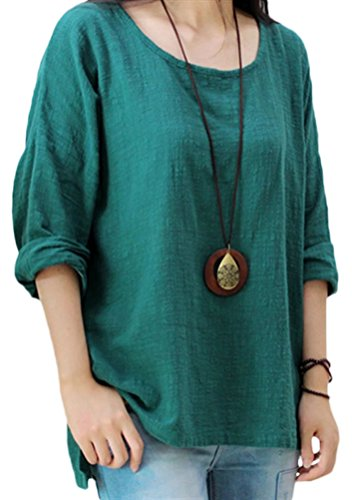 Soojun Women's Casual Loose Long Sleeve Round Collar Cotton Linen Shirt Blouse Tops, Color Green, X-Large (Top Peasant Blouse Cotton)
