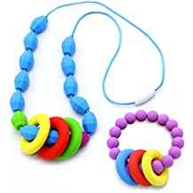 Babies Teething Necklace for Mom to Wear and Bracelet/Bangle - Breastfeeding Silicone Teether Beads Provide Soothing Pain Relief(Colorful)