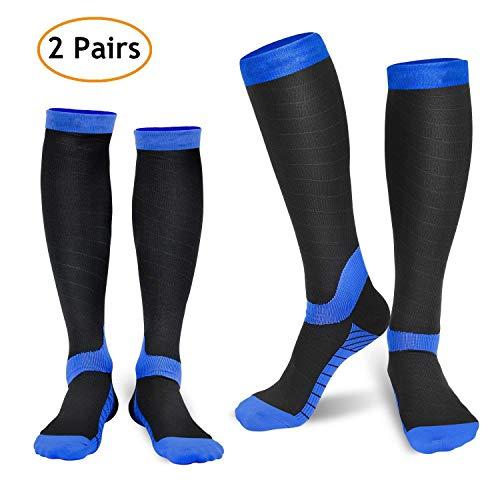 REFUN Compression Socks for Women & Men (2 Pairs), Graduated Compression Sock 20-30 mmHg for Running, Medical, Sports, Flight Travel, Nurses, Maternity Pregnancy, Shin Splints, Edema, Varicose Veins