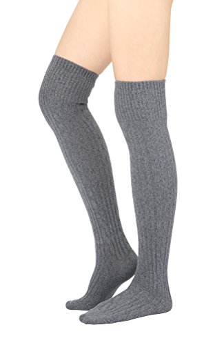 STYLEGAGA Winter Cozy Cable Knit Over The Knee High Boot Socks (One Size: XS to M, Cozy Cable_Gray)