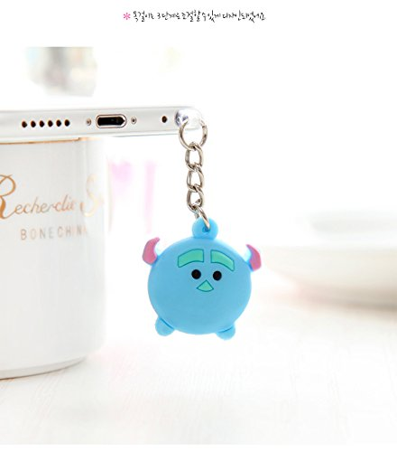 ZOEAST Cute Sulley Mike Monsters Inc Chain hanging Dust Plug 3.5mm Phone Headphone Jack Earphone Cap Ear Cap Dust Plug Charm iPhone 4 4S 5 5S SE 6 6S Plus Huawei Samsung IPad IPod (Blue Sulley)