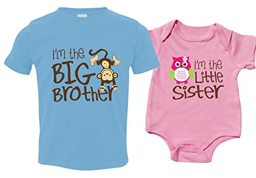 Big Brother T Shirt Little Sister Bodysuit Set, Includes Size 2 and 3-6 mo (Brother Sister Clothes)