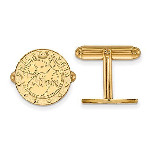 NBA Philadelphia 76ers Cuff Links in 14K Yellow Gold by LogoArt