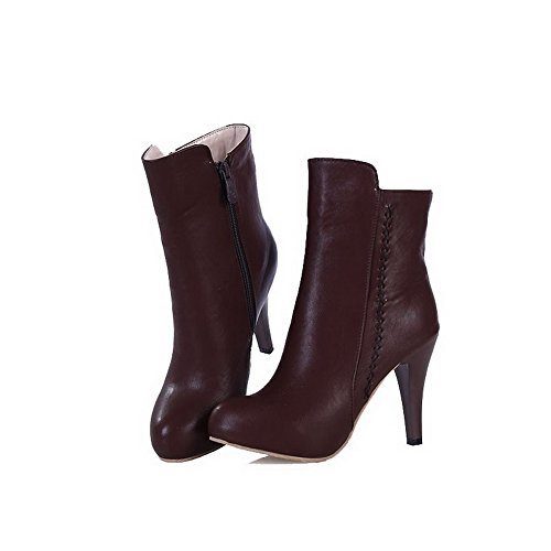 Round Brown PU Women's Zipper Low Top Toe Heels Boots High WeiPoot Closed ERP0wEq