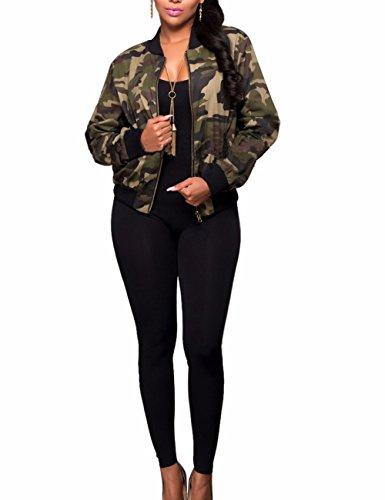 Sexyshine Women's Classic Casual Long Sleeve Camo Lightweight Zipper Outwear Short -