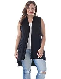 Women's Plus Size Sleeveless Lightweight Soft Printed Drape Cardigan with Pockets