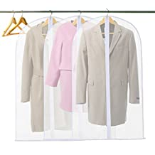 GWHOLE Pack of 3 PEVA Garment Bag Cover,Full Zipper Suit Bag for Luggage,Dresses,Linens,Travel, 60x100 cm