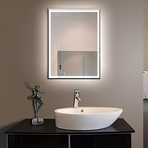 28 x 36 In Vertical LED Bathroom Silvered Mirror with Touch Button (C-C226)