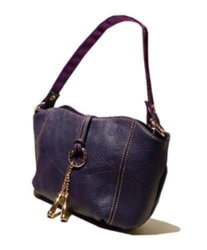 100% Genuine Leather Women Retro Professional Satchel Shoulder Messenger Bags Small Clutch Tote For Ladies - Purple