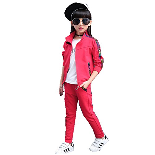FTSUCQ Kids Zip Front Sports Tracksuits Sweatsuits Jacket + Pants,Red 160