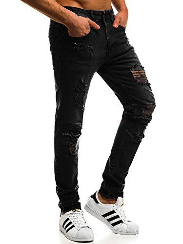 OZONEE Hombre Pantalones Vaqueros Pantalón Chándal Pantalones Deportivos Pantalones de Ocio Pantalón chándal Jogger Otantik 1805 Negro _ Ozonee _ Tac-at003