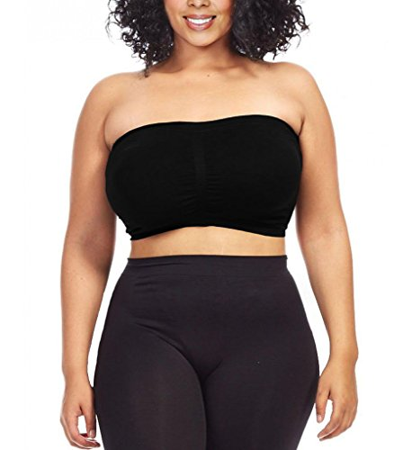 Dinamit Women's Plus Size Seamless Padded Bandeau Tube Top Bra Black 1X-2X (Padded Bra Tube Top)