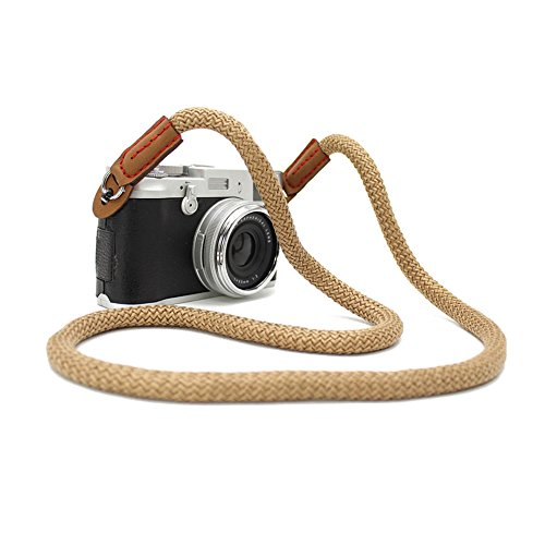 (LXH Universal Vintage Camera strap Handmade Soft Cotton Shoulder Neck Belt Strap for Leica Canon Nikon Fuji Olympus Lumix Sony 39inch Long Style (Long Strap-Brown))