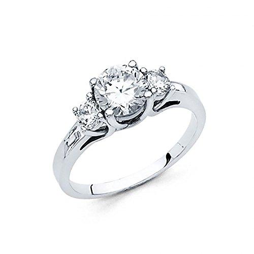 American Set Co. 14k White Gold 3 Stone CZ Trellis Solitaire Engagement Ring