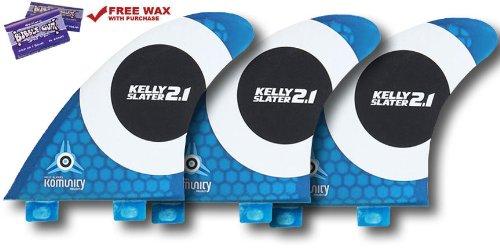 Komunity Project Kelly Slater FCS Surfboard Fins 2.1 Honeycomb (Blue, Tropical Wax)