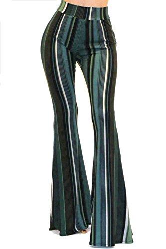Vivicastle Women's Boho Solid Hippie Wide Leg Flared Bell Bottom Pants (EE21, Green/Multi, Small)
