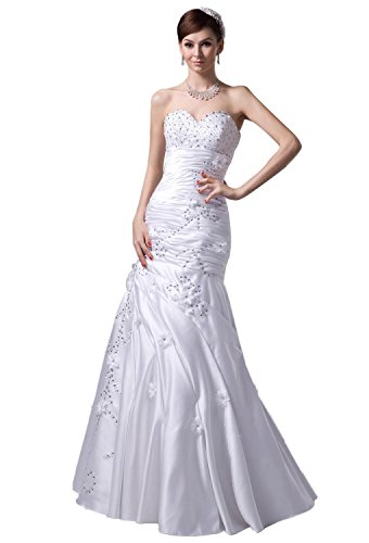Pronovias Bridal Dresses - Angel Formal Dresses Sweetheart Satin Long Wedding Dress(18,White)