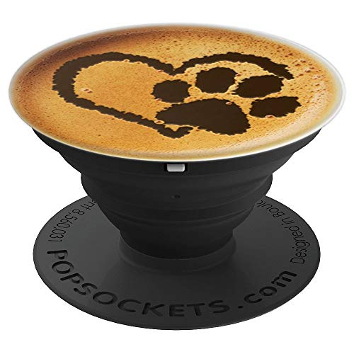 Paw Print Dog Paw Cute Dog Coffee Design Black Latte - PopSockets Grip and Stand for Phones and Tablets