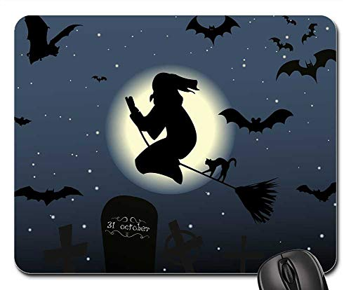 Mouse Pads - Halloween The Witch Hexenbesen Cat Moon -