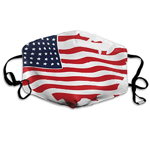 Unisex United States American Flag Wavy Printed Cotton Mouth-Masks Face Mask Polyester Anti-dust Masks
