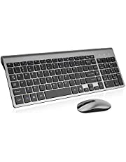 Wireless Keyboard Mouse Combo, Cimetech Compact Full Size Wireless Keyboard and Mouse Set 2.4G Ultra-Thin Sleek Design for Windows, Computer, Desktop, PC, Notebook - (Grey)
