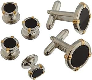 Geoffrey Beene Cufflinks & Tux Stud Set Silver w/Gold
