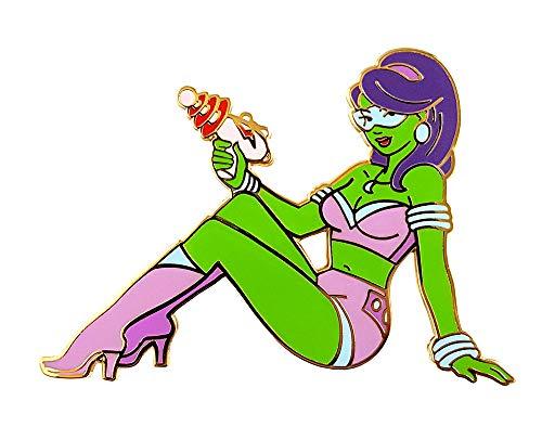 Pinsanity Retro Sci-Fi Alien Pin Up Girl Enamel Lapel Pin