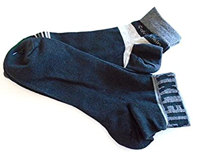 "Calvin Klein ""CK"" Combed Cotton Quarter Cut Ankle Socks 2 PAIR (Black/Storm Grey Mix)"