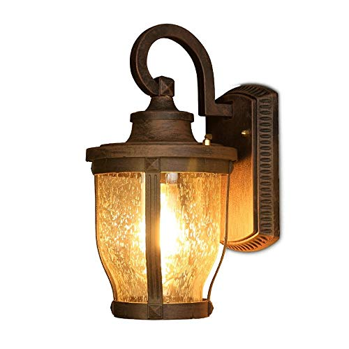 UOOK Vintage Loft Antique Waterproof Wall Mounted E27 Wall Lantern Wall Sconce Lamp Brass Finish Retro Light Frosted Glass Decor Wall Light for Garden Porch Patio Pathway Balcony Exterior Lighting