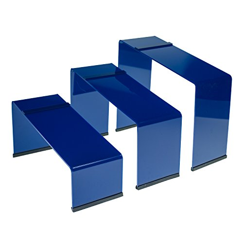 SOURCEONE.ORG Source One Premium Colored Acrylic Shoe Display Risers. Set of 3 with Non Slip Rubber Available in (Blue)