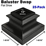 1/2' Stair Iron Baluster Swap Flat Shoes (25-Pack) Railing Stair Parts for Square Metal Scroll Basket Twist Knuckle Spindles NO Set Screw (Satin Black)