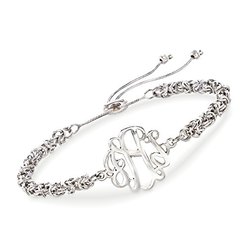 Ross-Simons Sterling Silver Byzantine Monogram Bolo Bracelet ()