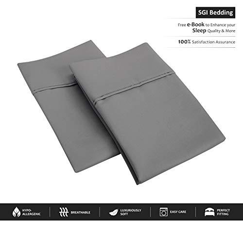 SGI bedding 600 Thread Count 100% Egyptian Cotton Euro Sham 26x26 Dark Grey Solid (Pack of ()