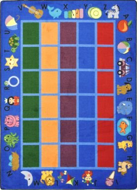 Learning Carpets Solid Green - Joy Carpets Kid Essentials Early Childhood Alphabet Phonics Rug, Blue, 7'8